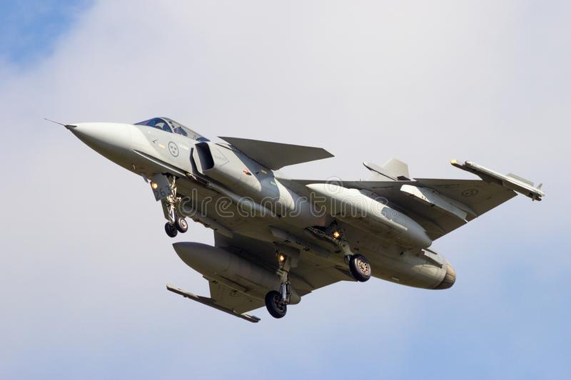 Zweedse Luchtmacht Saab jas-39 Gripen-vechtersjet stock foto