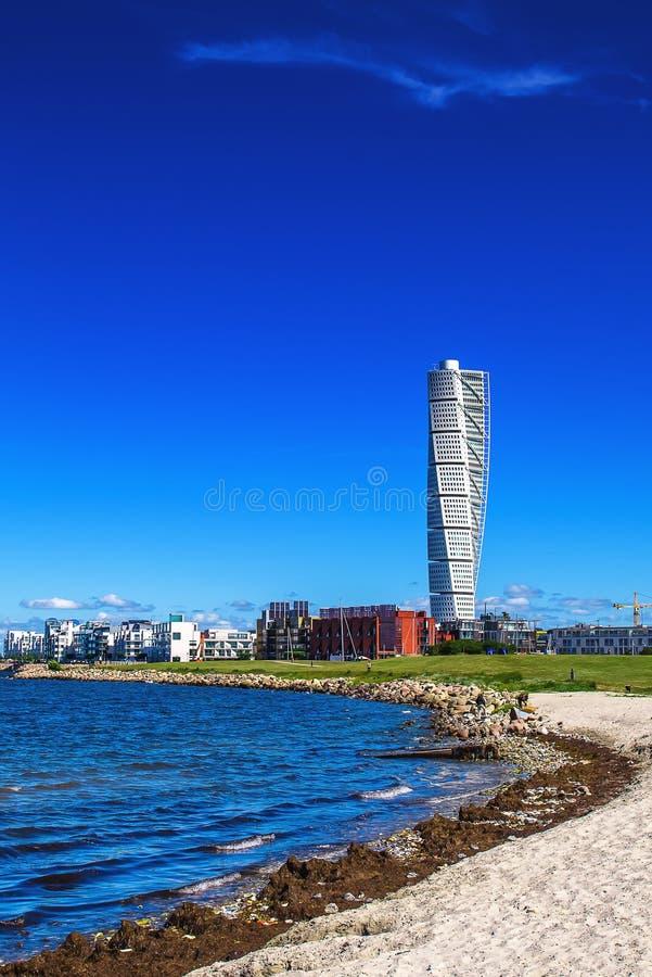 Zweedse Malmo het Gebiedscityscape van de het Westenhaven met het Draaien van Torso royalty-vrije stock fotografie