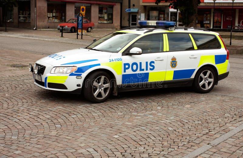 Zweedse politiewagen royalty-vrije stock afbeeldingen