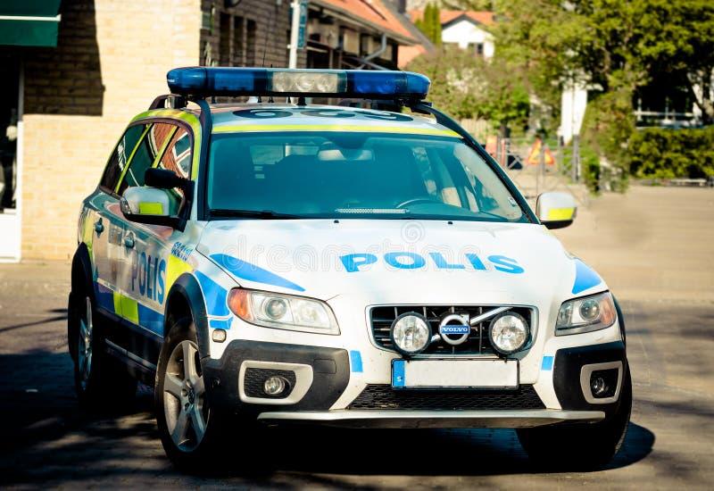 Zweedse politiewagen stock afbeelding