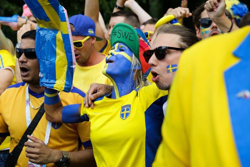 Zweedse ventilatorsparade De Wereldbeker van FIFA royalty-vrije stock foto