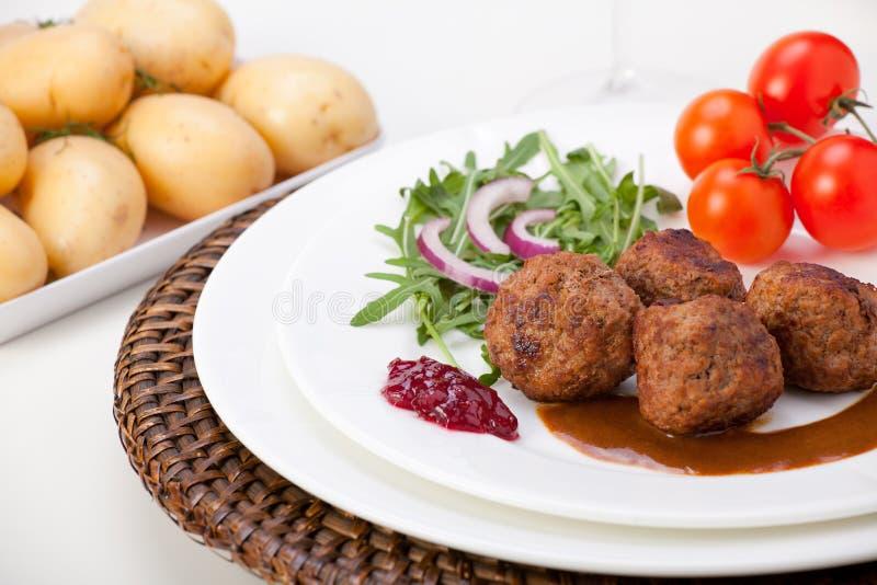 Zweedse vleesballetjes royalty-vrije stock foto's