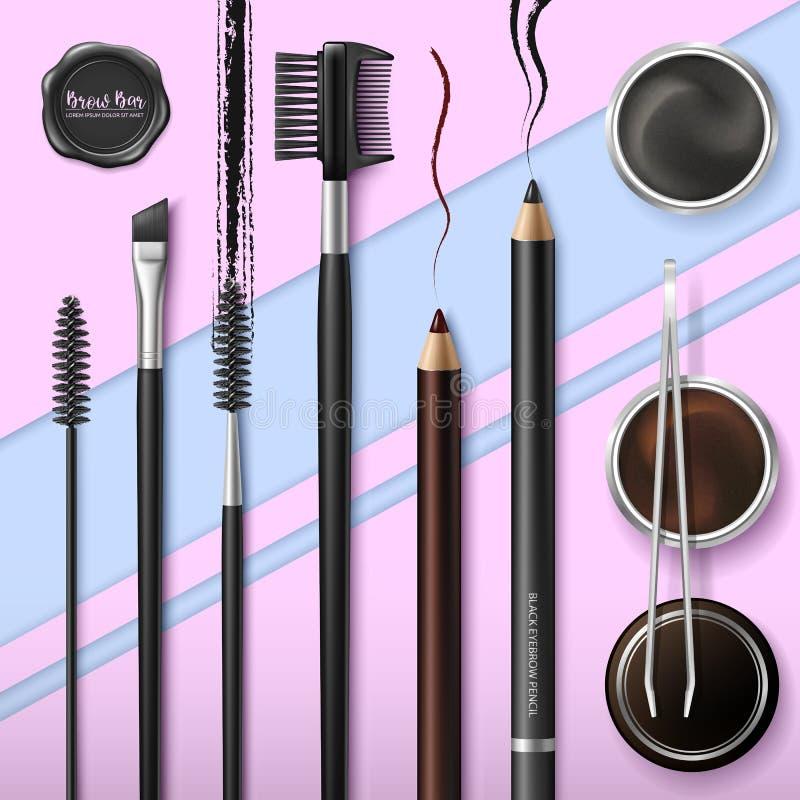 Zweep en Brow-Bar toebehoren Maak omhoog Hulpmiddelen voor zorg van brows Wenkbrauwenpotlood Hoekborstel, pincet en kam stock illustratie