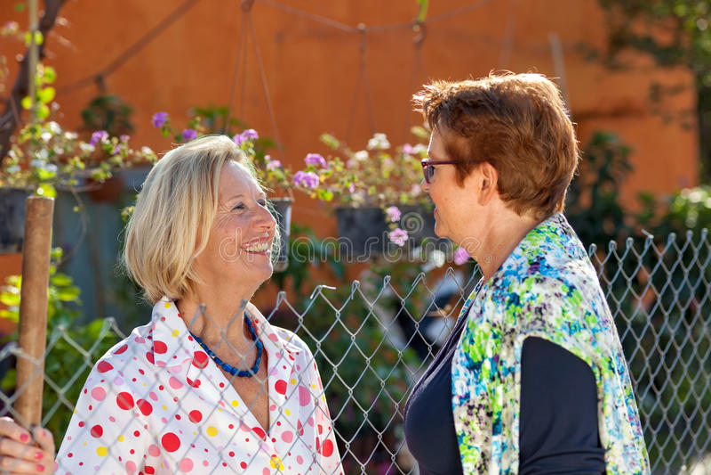 Zwei ältere Damen, die im Garten plaudern lizenzfreie stockbilder