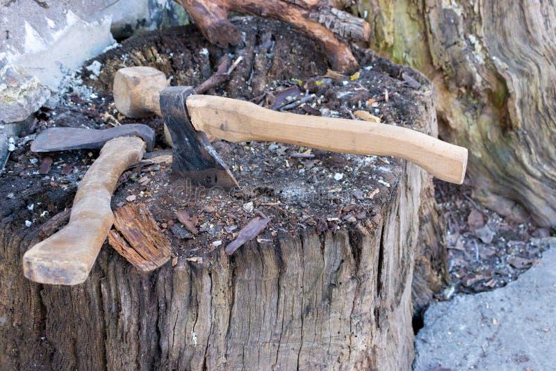 Zwei Äxte in verwittertem Stumpfbaum Getrennt auf Weiß Rostiger Werkzeughintergrund Hölzerne Axt stockbild
