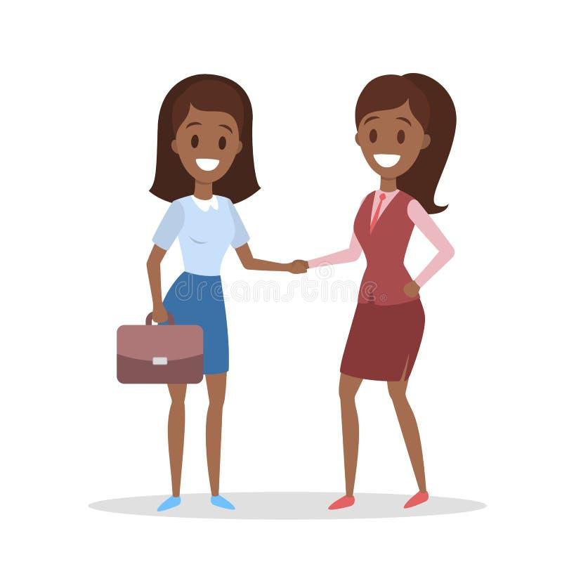 Zwei AfroamerikanerGeschäftsfrauen, die Hände rütteln stock abbildung