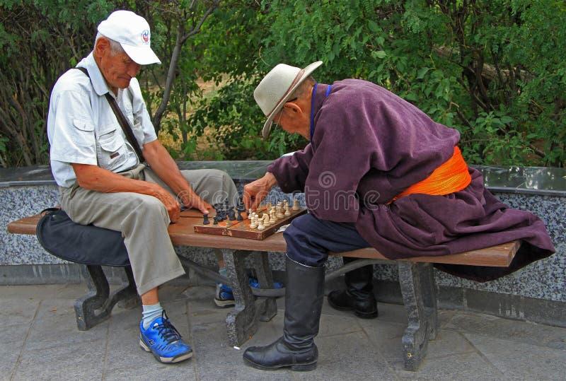 Zwei alte Männer spielen Schach im Park von lizenzfreies stockfoto