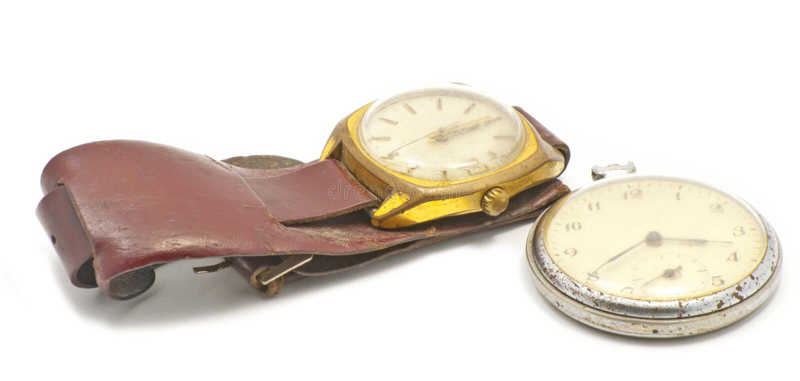 Zwei alte Uhren stockbild