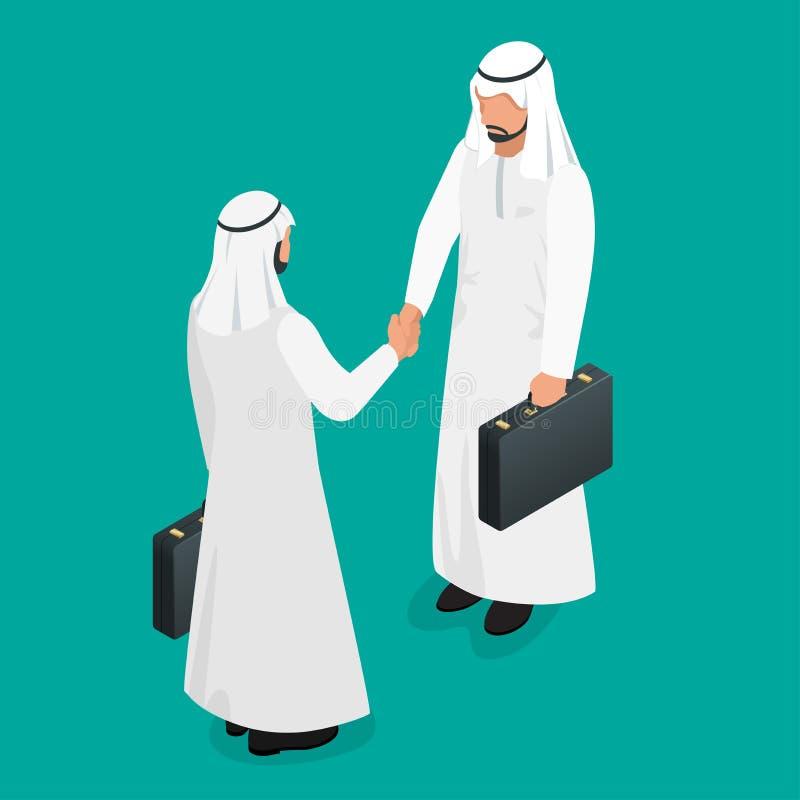 Zwei arabische Geschäftsmänner in den nationalen weißen Kleidern, die Hände rütteln Araber tut sich Händedruckkonzept zusammen Fl vektor abbildung