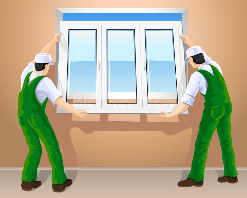 Zwei Arbeitskräfte, die neues Plastikfenster bearbeiten