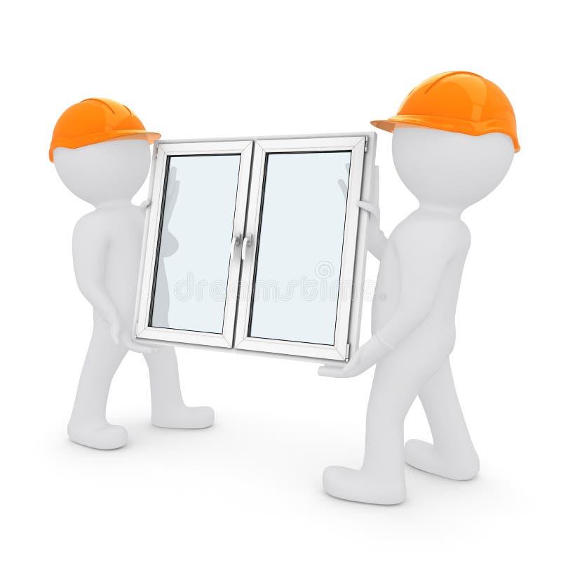 Zwei Arbeitskräfte haben Plastikfenster lizenzfreie abbildung