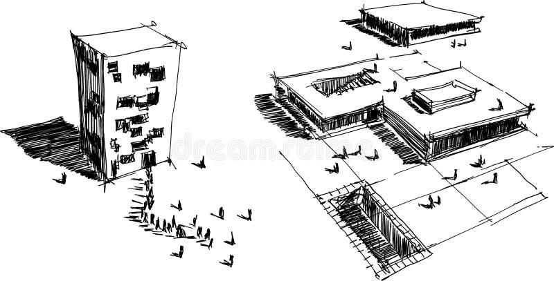 Zwei Architekturskizzen einer modernen abstrakten Architektur lizenzfreie abbildung