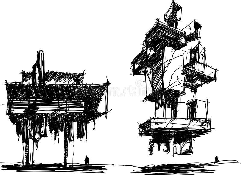 Zwei Architekturskizzen einer modernen abstrakten Scifiarchitektur vektor abbildung