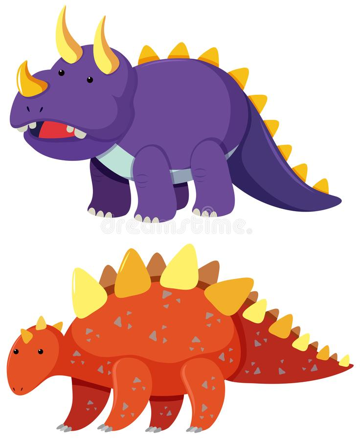 Zwei Arten Dinosaurier auf weißem Hintergrund stock abbildung