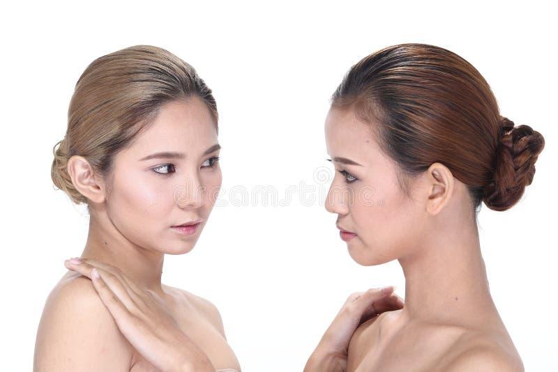 Zwei Asiatinnen mit schöner Mode bilden eingewickeltes Haar stockfoto