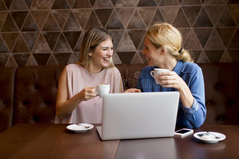 Zwei attraktive junge Frauen mit Laptop im Café stockbilder