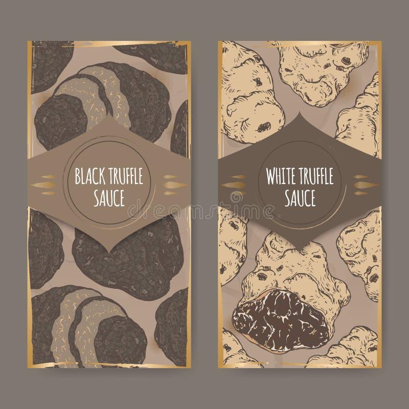 Zwei Aufkleber für weiße und schwarze Trüffelsoßen-Farbskizze lizenzfreie abbildung