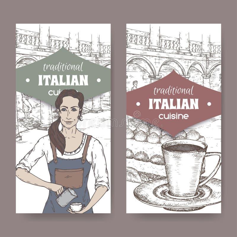 Zwei Aufkleber mit barista, Ilalian-Patio, Kaffeetasse und Tiramisu auf Weiß stock abbildung