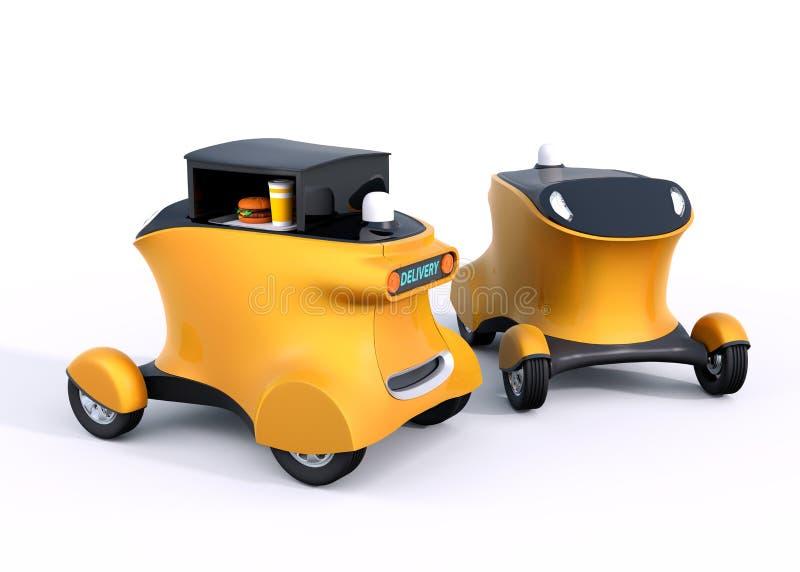 Zwei autonome Hamburgerlieferungs-Roboterautos lokalisiert auf weißem Hintergrund vektor abbildung