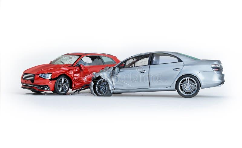Zwei Autos zerschmettert in Unfall Seitenperspektivenansicht lizenzfreie abbildung