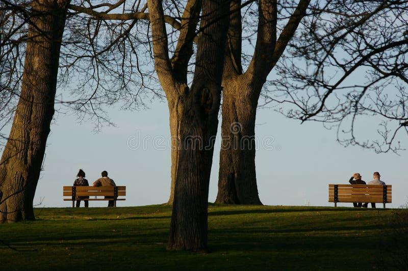 Zwei Bänke, zwei Paare bei Sonnenuntergang stockbild