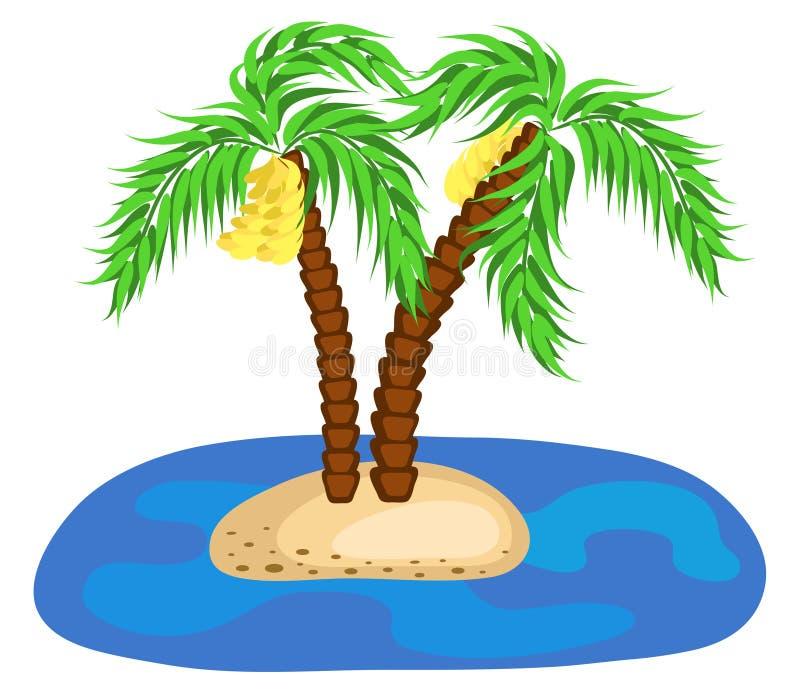 Zwei BananenPalmen auf Insel im Ozean Auch im corel abgehobenen Betrag lizenzfreie abbildung
