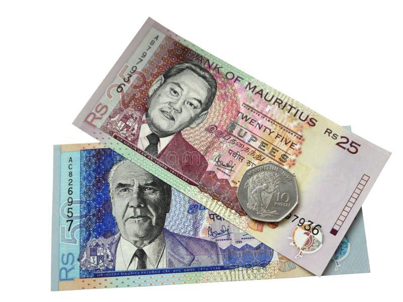 Zwei Banknoten und eine Münze Mauritius. lizenzfreies stockbild