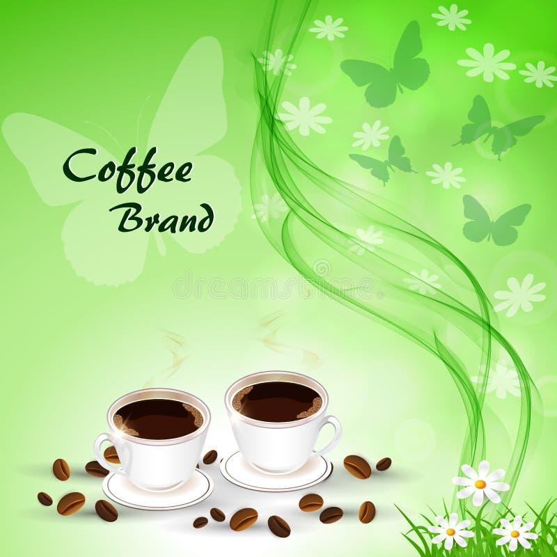 Zwei Becher Kaffee auf dem Hintergrund der Sommerlandschaft lizenzfreie abbildung