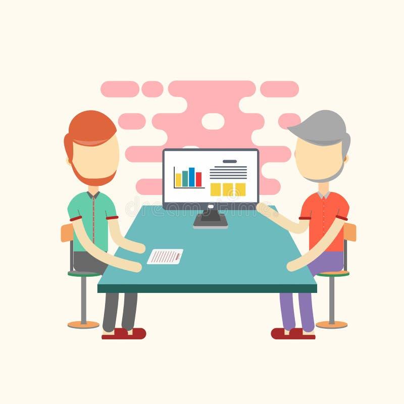 Zwei bemannt Sitzung im Büro vektor abbildung