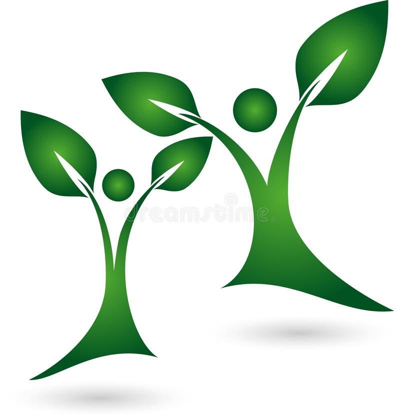 Zwei Betriebs-, Baum-, Naturopath- und Naturlogo stock abbildung