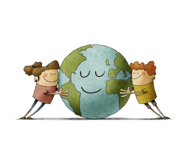 Zwei bezaubernde Kinder umarmen liebevoll eine Erde, die lächelt isoliert stock abbildung