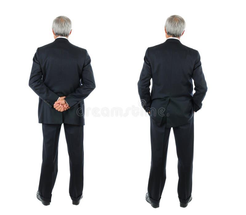 Zwei Bilder des gleichen mittleren gealterten Geschäftsmannes gesehen von hinten lizenzfreies stockbild