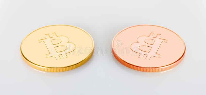 Zwei bitcoins Kryptageld lizenzfreie stockfotos