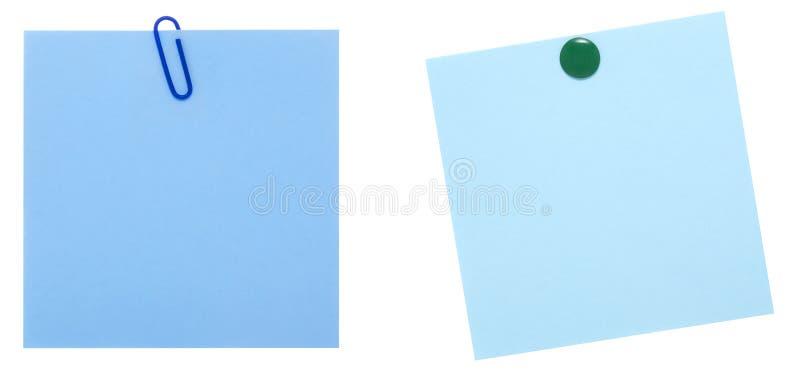 Zwei Blätter der blauen Anmerkung stockbild