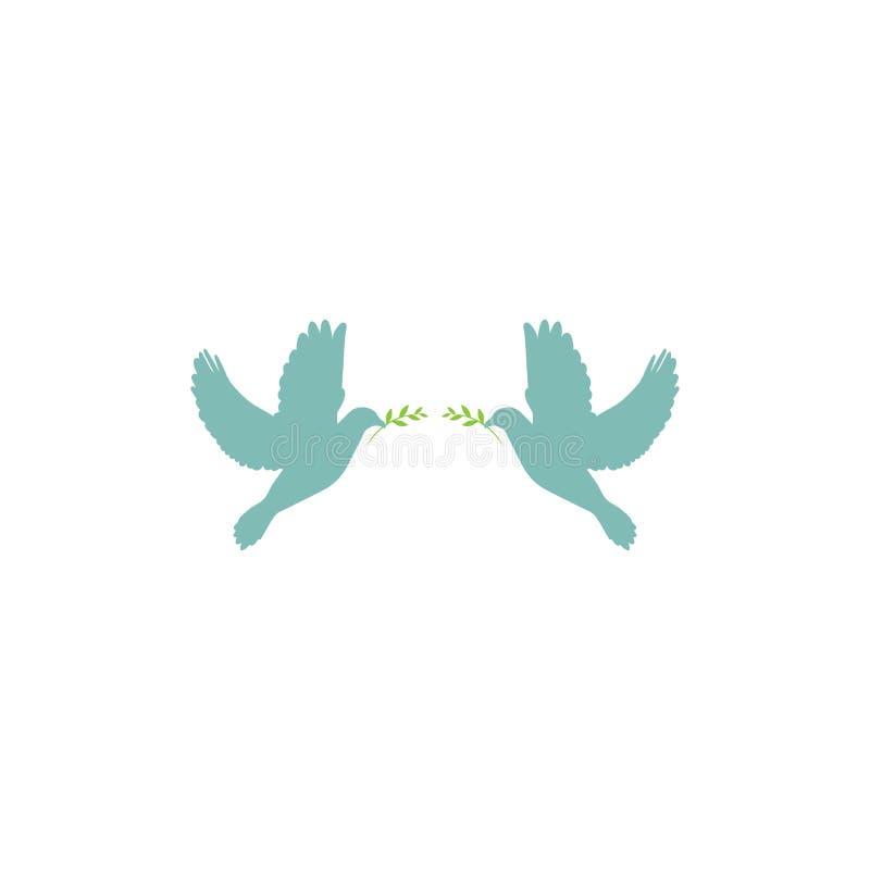 Zwei blaue Tauben mit grünem olivgrünem Zweig auf weißem Hintergrund Friedensvektorillustration stock abbildung