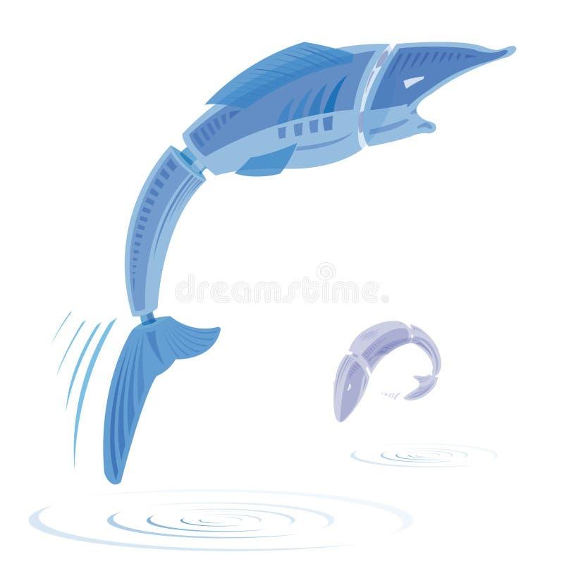 Zwei blaue transparente springende Fische auf Weiß vektor abbildung