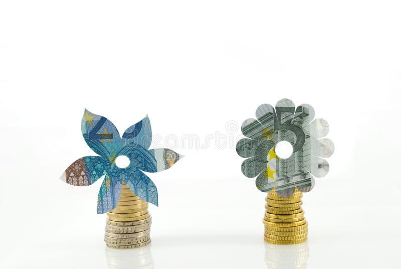 Blumen aus Geld heraus stockfotos