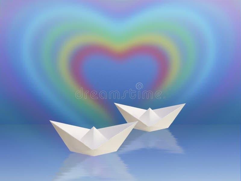 Zwei Boote und Regenbogeninneres vektor abbildung