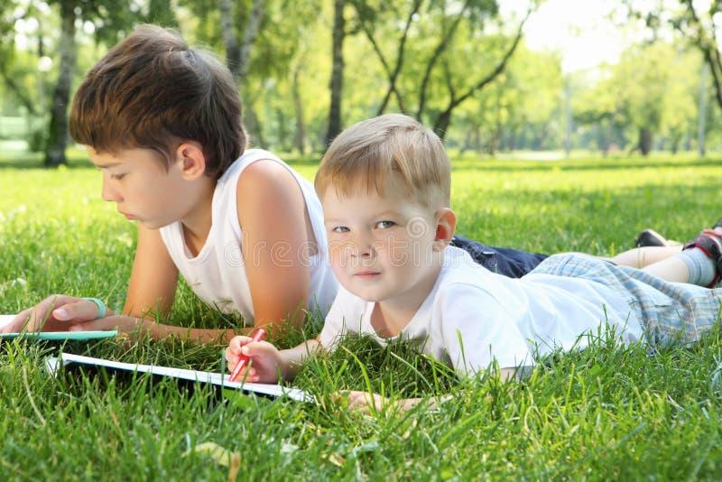 Zwei Brüder zusammen im Park lizenzfreie stockfotografie