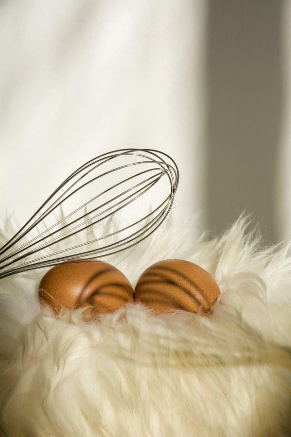 Zwei braune gesprenkelte Eier mit wischen auf dem weißen Pelz stockfoto