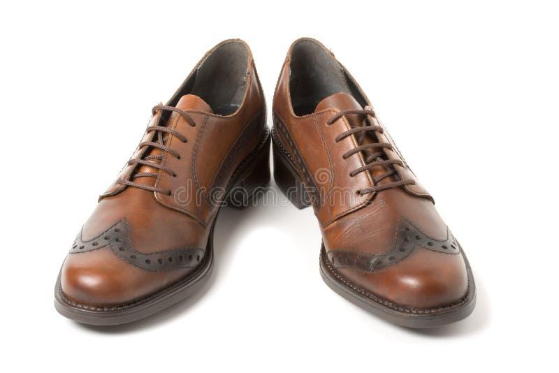 Zwei braune Schuhe getrennt auf Weiß lizenzfreies stockbild