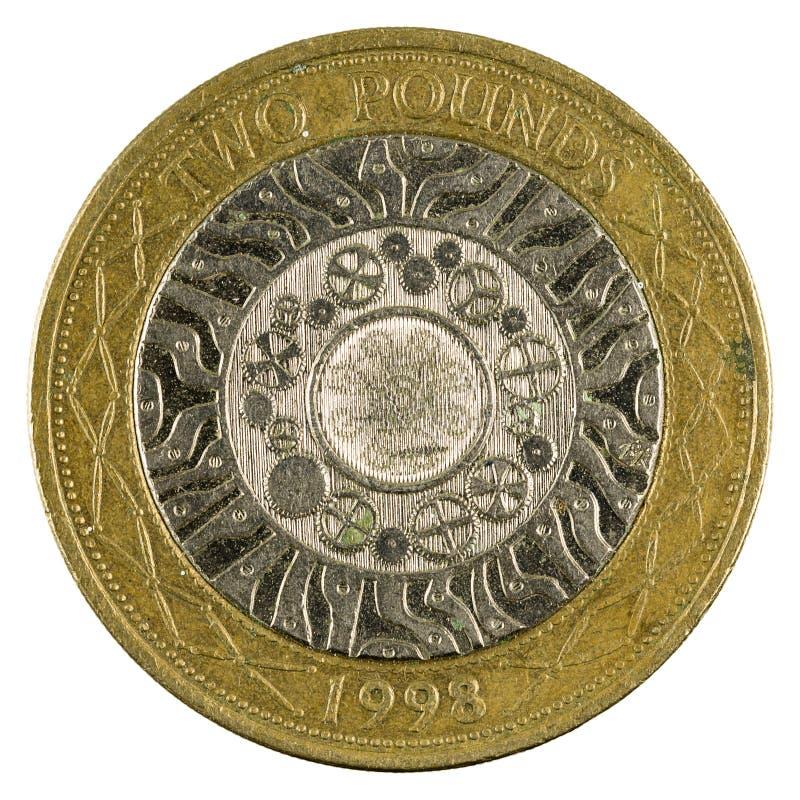 Zwei britische Pfunde der Münze 1998 lokalisiert lizenzfreie stockfotos