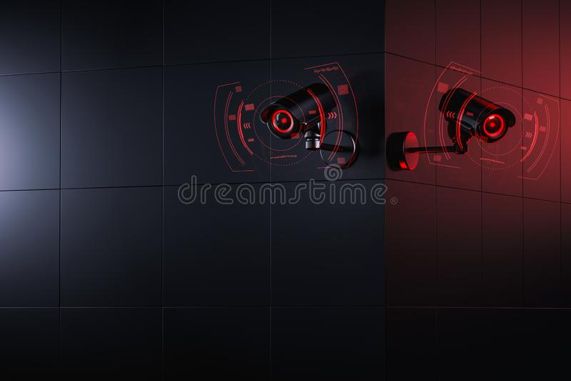 Zwei Cctv-Kameras sind, ?berpr?fend scannend und zu Information ?ber B?rger im ?berwachungssicherheitssystem Sozialkreditwesen stock abbildung