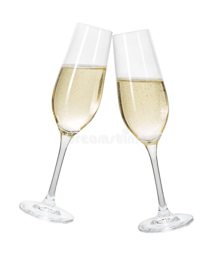 Zwei Champagnergläser auf einem weißen Hintergrund stockfotografie
