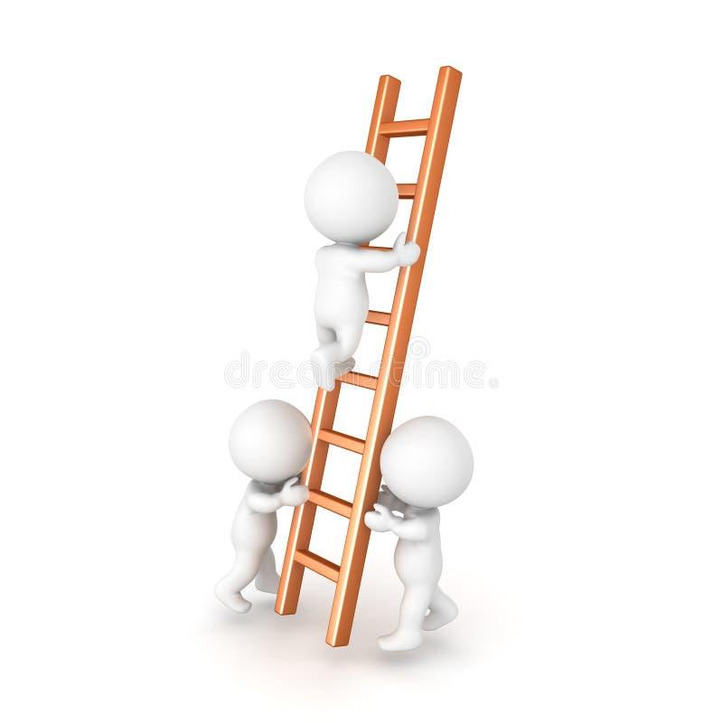 Zwei Charaktere 3D, die eine Leiter halten, damit eine klettert stock abbildung