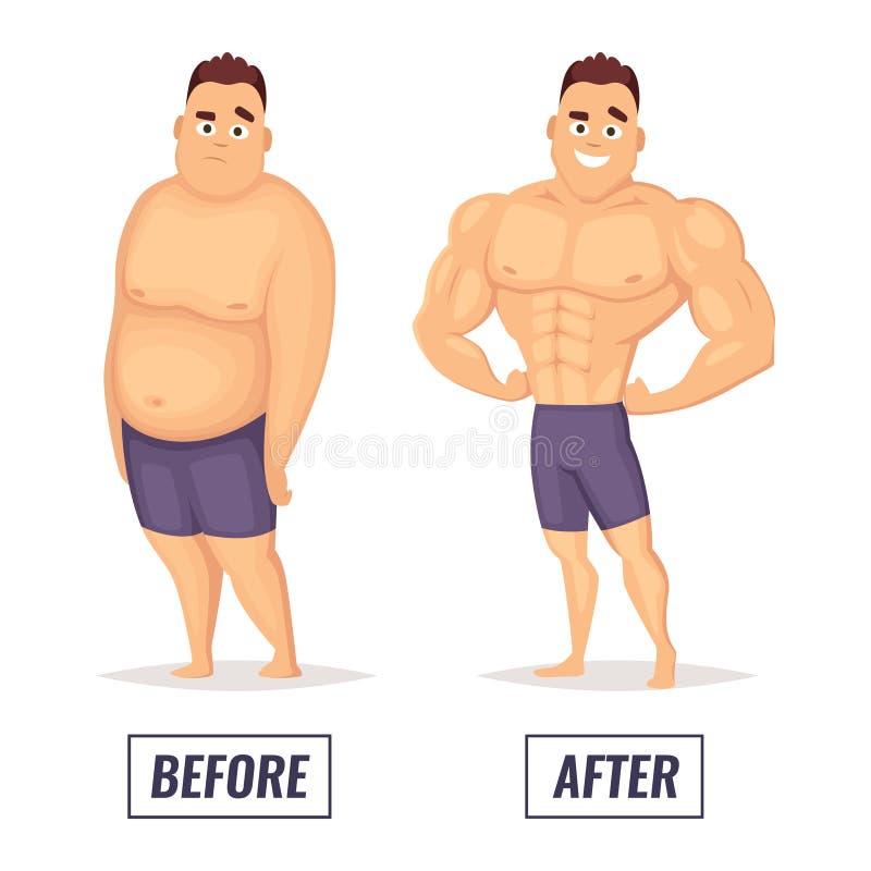 Zwei Charaktere fett und muskulöser Mann Sichtbarmachung des Verlustgewichts vektor abbildung