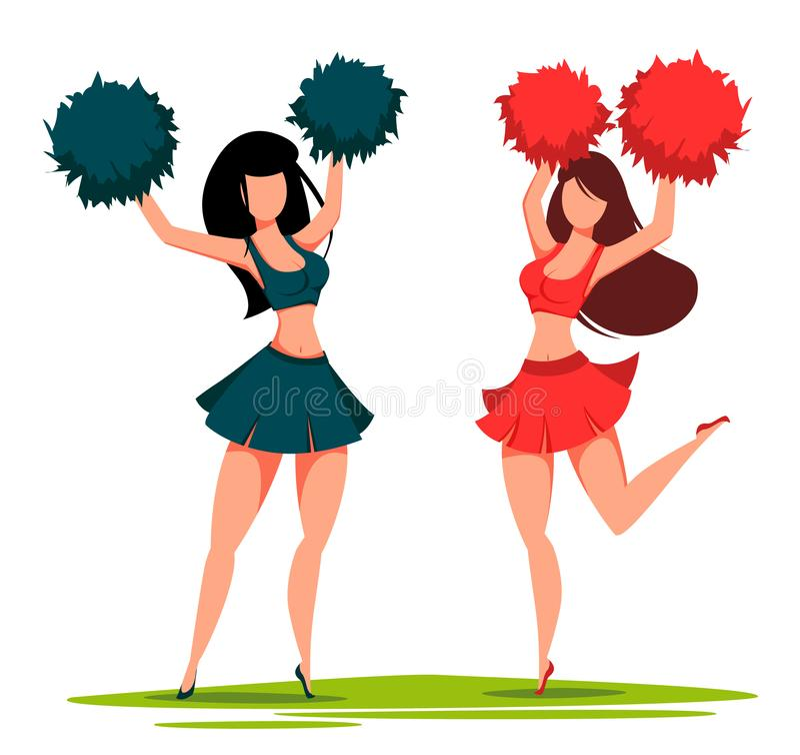 Zwei Cheerleaderfrauen mit pom poms stock abbildung