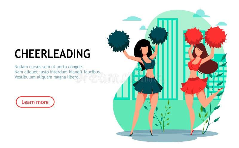Zwei Cheerleaderfrauen mit pom poms vektor abbildung