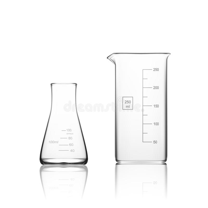 Zwei Chemikalien-Laborglaswaren oder Becher Glasausrüstungs-leeres klares Reagenzglas lizenzfreie abbildung