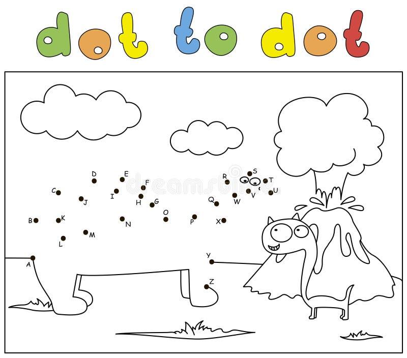 Zwei Comic-Cartoon-Dinosaurier und Vulkanausbruch Farbbuch und Punkt-zu-Punkt-Spiel für Kinder vektor abbildung